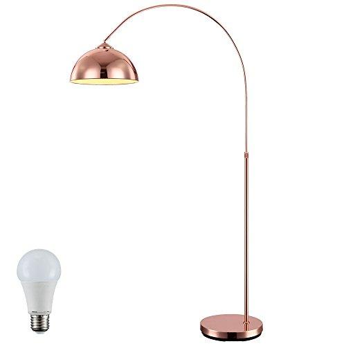 Bogen Steh Stand Lampe Kupfer höhenverstellbar im Set inklusive 10W LED-Leuchtmittel
