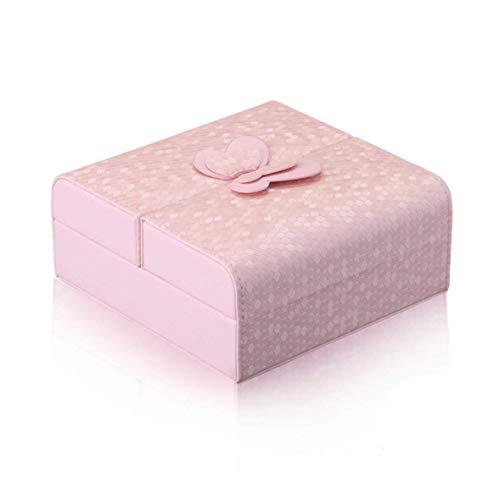 Faux-leder-lagerung (Faux Leder Schmuckschatulle Julitong Schmuck Lagerung Zwei-Wege offene Portable Kosmetikkoffer, Pink)