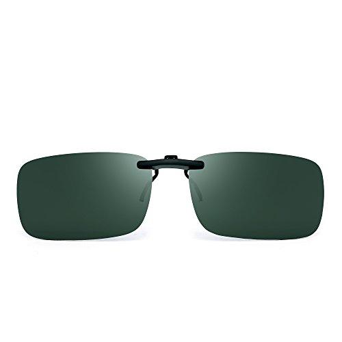 JM Randlos Rechteck Clip auf Sonnenbrille Leicht Gewichts Polarisiert Brillen Damen Herren(Polarisiertes Grün)