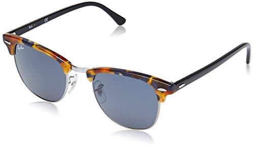 Ray Ban Unisex Sonnenbrille Clubmaster, Mehrfarbig (Gestell: Havana/Schwarz, Gläser: Blau/Grau Klassisch 1158R5), Medium (Herstellergröße: 51)