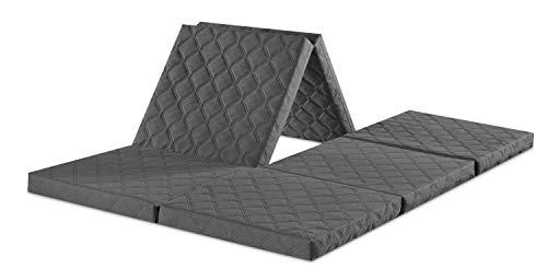 sleepling Twin Doppel-Klappmatratze Gästematratze als Sitzhocker mit Husse in 195 x 140 x 8 cm, grau