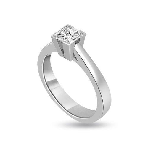 0,20 quilates F/VS1 Anillo solitario de compromiso de diamante para mujer con Princesa diamantes en 18k Oro blanco