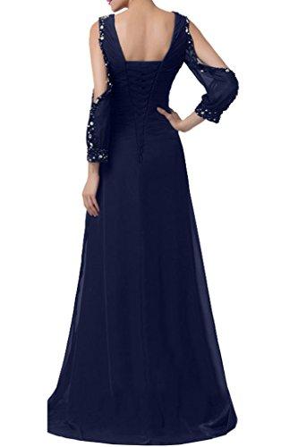 Sunvary Romantisch Neu Chiffon V-Neck Arm Steine Abendkleider 2016 Lang Mutterkleider Partykleider Schwarz