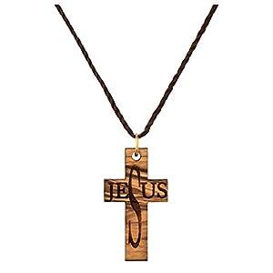 MaMeMi Schöne Kette mit Anhänger aus echtem Olivenholz aus den Heiligen Land, Jesus Kreuz, ca. 4cm