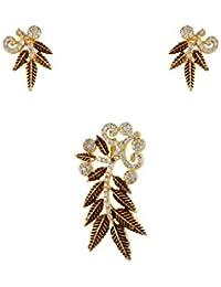 Gold Plated American Diamond Leaf Shape Pendant Earring Set Jewellery For Women / Girls