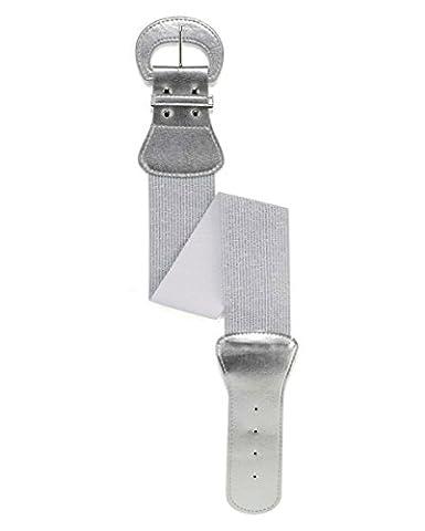 Silberner Stretch-Gürtel 79cm für Fasching (80er Ära Kostüme)