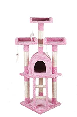 JINKAKA Cat Scratching Post Scratcher Tree Activity Toy Pet Playing Centre Climbing 40x40xH115cm from JINKAKA