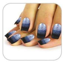 Faux ongles bleu nuit paillettes