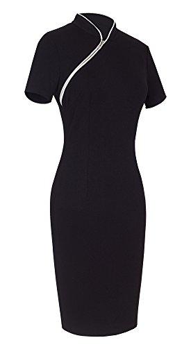 HOMEYEE Damen Kurzarm Vintage Business Schleife Cocktailkleid 1950er Jahre Kleid B60 Schwarz