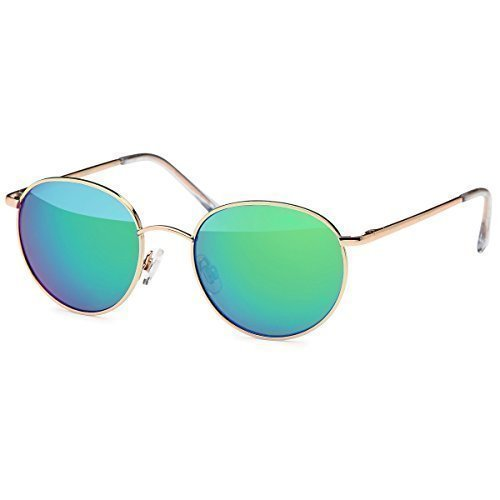 Herren Sonnenbrille Rechteckbrille New Wayfarer Matrix Evo Aviator Fliegerbrille, Rahmenfarbe:Braun/Eloxiert