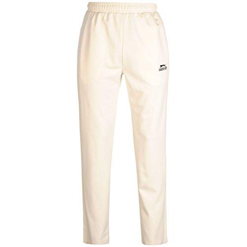 Slazenger Herren Cricket Hose Kordelzug Bestickt Logo Sporthose Taschen Weiss Large (Cricket Herren)