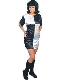 Smiffy's black and white sixties mini shift dress size 10-14