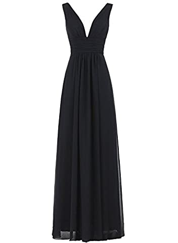 Azbro Women's V-Neck Ruched Waist Long Prom Evening Gown Bridesmaid Dress, Black L