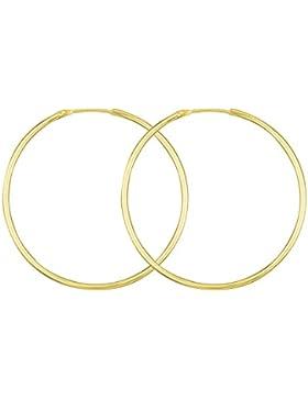 Ohrringe, Creolen aus Gelbgold, Außendurchmesser 44 mm, Breite 1.5 mm, Goldlegierung ist frei wählbar, NEU
