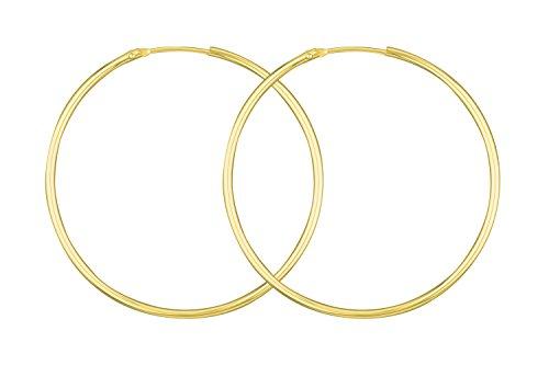 Ohrringe, Creolen, Gelbgold 585 / 14 K, Außendurchmesser 44 mm, Breite 1.5 mm, Gewicht ca. 2.1 g., NEU