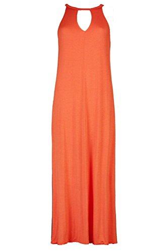 Damen Orange Petite Poppy Maxikleid Mit Gebundenem Kragen Und Cutout Orange