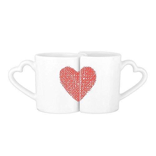 Fuwuxin HOME Lignes de grille rouge en forme de coeur Saint-Valentin Sketch Illustration Pattern Lovers 'amoureux de la tasse mugs mis en céramique blanc tasse en céramique tasse tasse de café au lait