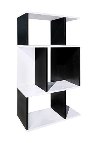 Mobili rebecca® libreria scaffale 3 ripiani nero bianco stile contemporaneo soggiorno studio (re4492)