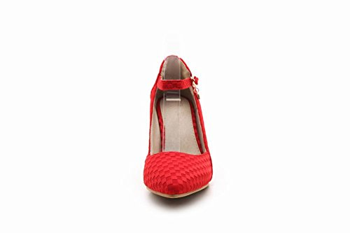 Mee Shoes Damen Stiletto ankle strap runde Pumps Rot