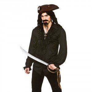 Adult Mens Halloween Black Pirate/ Vampire Shirt Fancy Dress