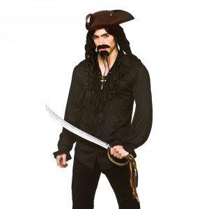 Adult Mens Halloween Black Pirate/ Vampire Shirt Fancy Dress Costume-Large