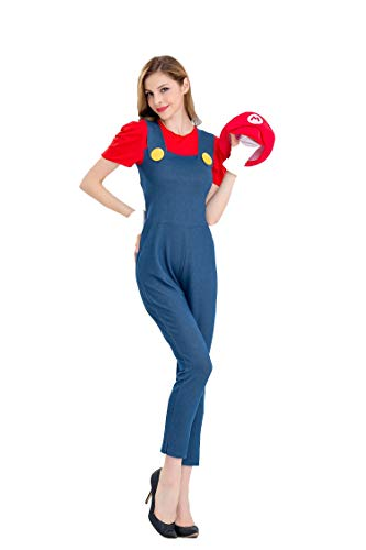 Mario Bros Damen Kostüme Cosplay Kleider Fasching Karneval Maskerade Clothing,Red,M ()
