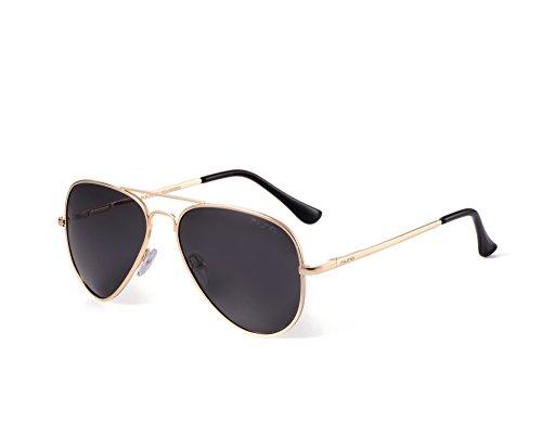 Miuno® Sonnenbrille Polarisiert Polarized Herren Damen Geschenkbox & Brillentuch Aviator Federscharnier 3025 Goldgestell (Schwarz)