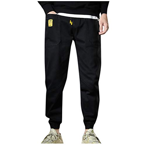LOLIANNI Herren Schwarz Mode Plus Size Hosen Herren Casual Style Hosen Lose Mode Bequeme Lange Hosen