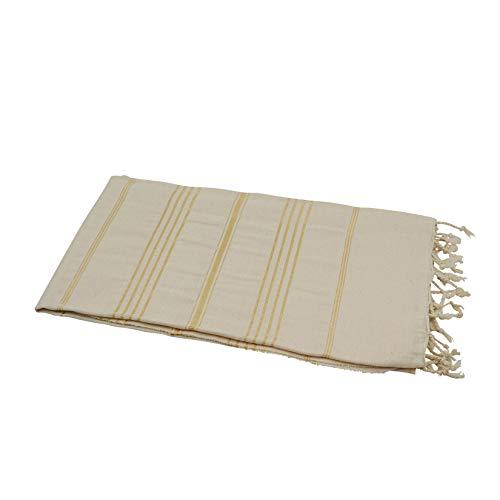 The peshtemal naturel/doré sultan serviette de hammam «my» serviette de sauna yogadecke lange bébé foulard 95 % coton, 5 % viscose-bermuda-serviette de hammam avec rayures