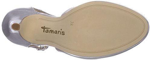 Tamaris 24428, Decolleté con fibbia a T donna Grigio (Grau (Lt.Grey Patent 281))