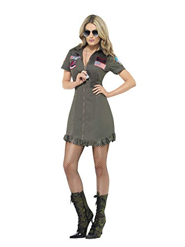 Smiffys, Sexy Damen Top Gun Deluxe-Kostüm, Kleid und Sonnenbrille, Top Gun, Größe: M, - Top 100 Fancy Dress Kostüm