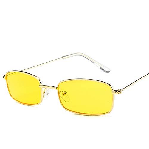 CCMOO Kleine Retro Shades Rechteck Sonnenbrille Männer Rote Linse Gelb 2018 Metallrahmen Klare Linse Sonnenbrille Für Frauen-gelb