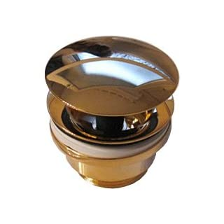 Automatic Click-Clack Waste / Pop-up Drain Valve in 24 Carat Gold for Bathroom Sinks and Wash Basins Adjustable Standard 1 1/4 Inch Thread for Syphon Connection