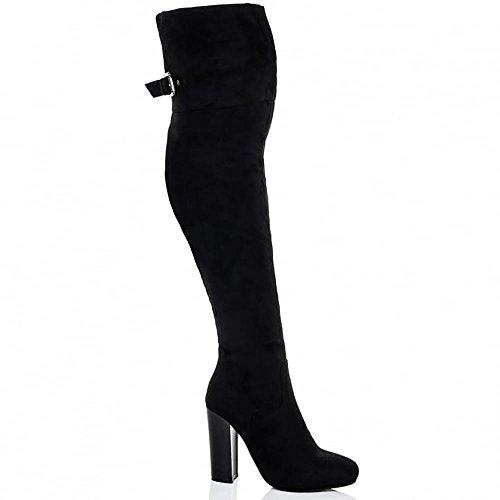 Mesdames Noir Simili-Suède Sur Les Genou Bottes Boucle Chaussures De Hauts Talons Noir