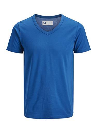 JACK & JONES Herren T-Shirt JJEBASAL Tee V-Neck GER KA - Slim Fit, Grße:S, Farbe:Classic Blue (12157247) -