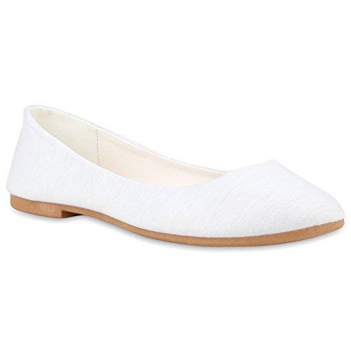 Damen Ballerinas Flats Übergrößen Gr. 36-44 Freizeit Leder-Optik Schleifen Pailletten Slipper Schuhe 112548 Weiss Braun 39 Flandell