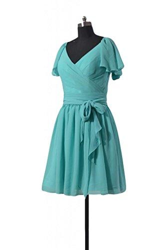 daisyformals robe courte de Vintage Modeste robe de demoiselle d'honneur en mousseline (bm1662) Bleu - #37-Royal Blue