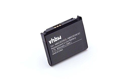 vhbw Li-Ion Akku 800mAh (3.7V) für Handy Smartphone Telefon Samsung SGH-U808, SGH-U900 Soul, SGH-U900V, SGH-U908, SGH-Z240, SGH-E950 wie AB653039CE.