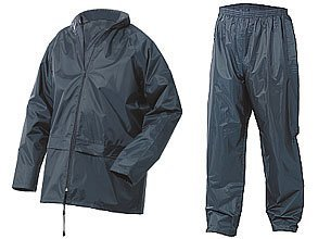 ADULTS FULLY WATERPROOF JACKET AND TROUSER SET - 5 COLOURS (MEDIUM, NAVY BLUE)