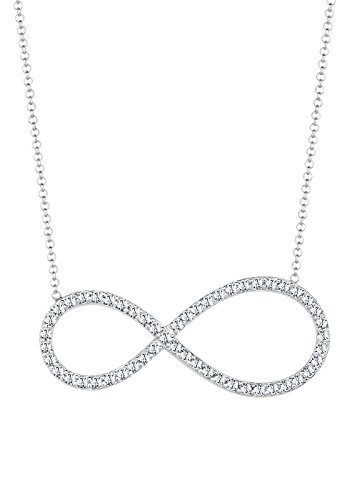 Elli Damen-Kette mit Anhänger Infinity 925 Sterling Silber Swarovski Kristall weiß Brillantschliff 0106410314_45 - 45cm Länge