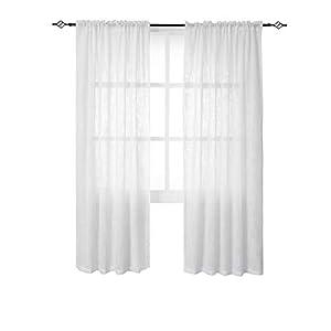 BGment Vorhäng weiß Leinen 2 Stücke Voile mit Stangendurchzug Transparenter Gaze Gardine Wohnzimmer Schlafzimmer(H 175 X B 140cm,weiß)