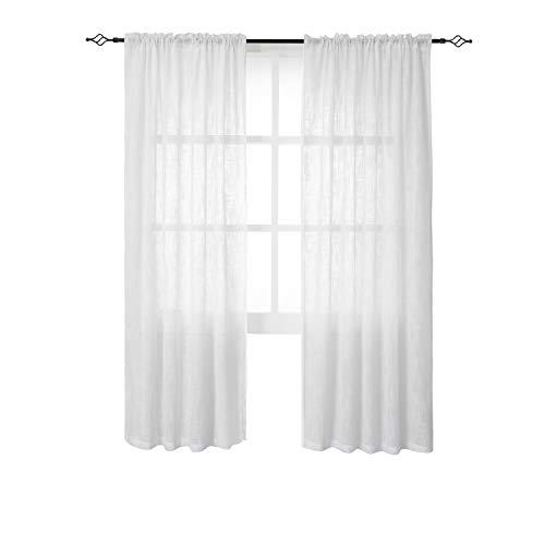 Tende in voile lino look per finestre pura moderne decorativo porta balcone tessuto morbido per camere da letto due pannelli(140 x 175cm(l×a),bianco)