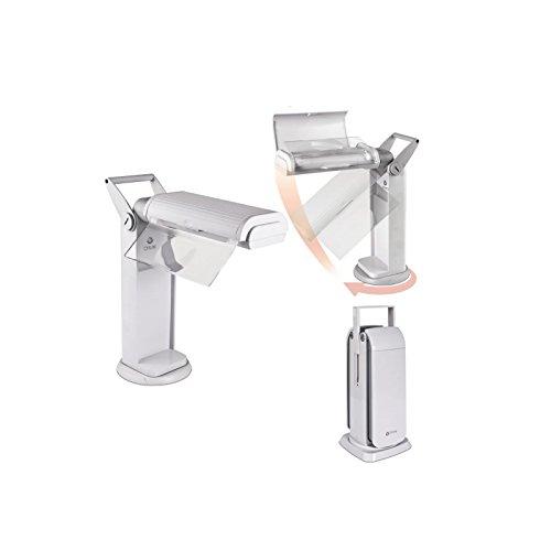 Lampada pieghevole con maniglia per trasporto e base girevole, con lente d' ingrandimento desplagable. Lampada pieghevole con lente di ingrandimento 13W Ott-Lite