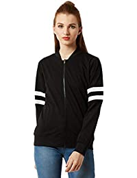 Miss Chase Women's Black Stripe Bomber Jacket