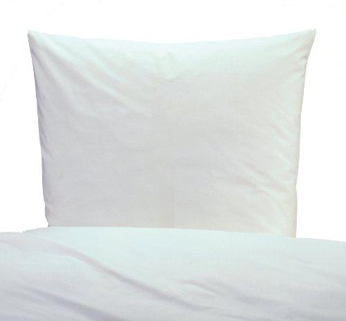 Bettwäsche linon in weiß mit Reissverschluß -155x220 + 80x80 - Hotelbettwäsche