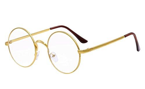 BOZEVON Klare Linse Transparente Gläser - Runde Ultradünne Metallrahmen Lesebrille Dekor Retro Brillen Brillen Für Männer Frauen Gold (Rund)