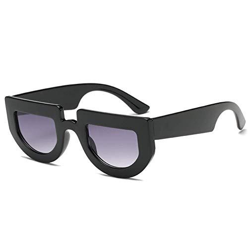 YHEGV Sonnenbrille Frauen Cool Übergroße Sonnenbrille Retro Flat Top Dicker Rahmen Markendesigner Sonnenbrille Männer Vintage Einzigartige Schattierungen