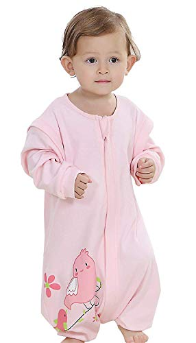 Baby ganzjahres Schlafsack mit Beinen,abnembar Langarm,Unisex Kleine Kinder Sommerschlafsack,Baby Strampler Schlafanzug Baumwolle (C, 6-12M) (Kind Kleine Schlafanzüge)