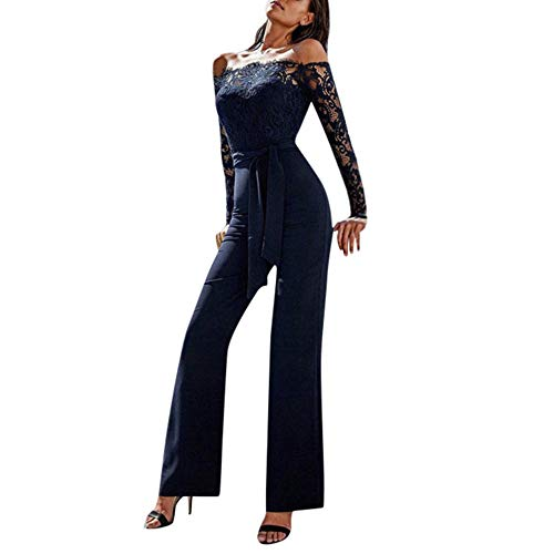 ASHOP Onesies for Women Jumpsuits Damen Elegant Lang Spitze Tube Top, Sexy, One-Shoulder-, RüCkenfrei, Perspektive, Spitze, Overall, Lose Weite Hose, Overall, Fashion Business