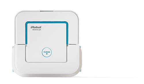 iRobot Braava Jet 240 Robot fregasuelos, con 3 modos de limpieza y pulverizador de agua a presión, óptimo cocinas y baños, con paños desechables incluidos 33 W, blanco